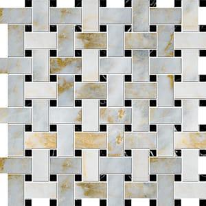 Calacatta Fusion Polished Basket Weave Marble Mosaics 30,5x30,5