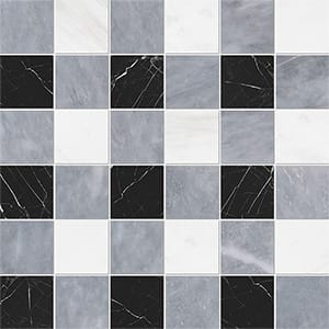 Allure Light, Snow White, Black Honed 5x5 Marble Mosaics 30,5x30,5
