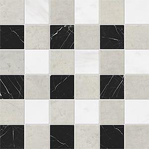 Britannia Light, Snow White, Black Honed 5x5 Marble Mosaics 30,5x30,5