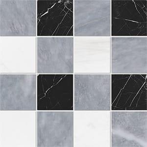 Allure Light, Snow White, Black Honed 10x10 Marble Mosaics 40,6x40,6