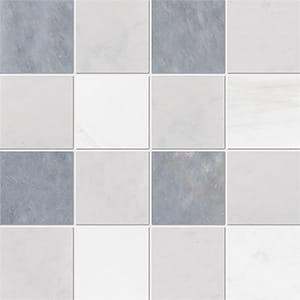 Allure Light, Snow White, Glacier Honed 10x10 Marble Mosaics 40,6x40,6