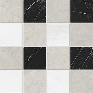 Britannia Light, Snow White, Black Honed 10x10 Marble Mosaics 40,6x40,6