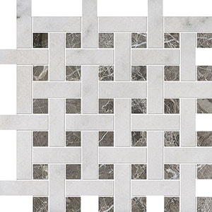 Avalon, Silver Drop Polished Basket Weave 1x3 Marble Mosaics 32x32