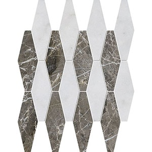 Avalon, Silver Drop Polished Rhomboid Blend Marble Mosaics 28x38