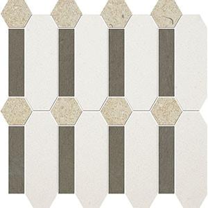 Champagne, Bosphorus, Seashell Honed Pillar Limestone Mosaics 33x33