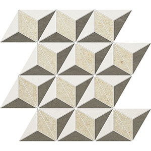 Champagne, Seashell, Bosphorus Honed Diamond 3d Limestone Mosaics 39x35