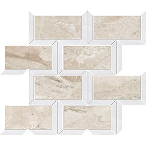 Diana Royal, Snow White Multi Finish Cascade Marble Mosaics 24,5x30