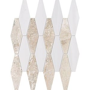 Diana Royal, Snow White Multi Finish Rhomboid Blend Marble Mosaics 28x38