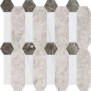 Silver Clouds, Snow White, Arctic Gray Multi Finish Pillar Marble Mosaics 33x33