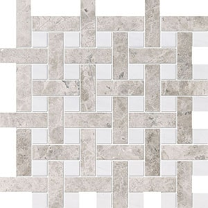 Silver Clouds, Snow White Multi Finish Basket Weave 1x3 Marble Mosaics 32x32