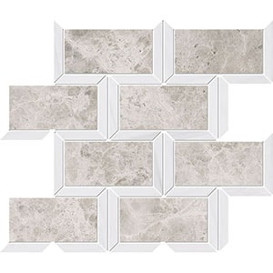 Silver Clouds, Snow White Multi Finish Cascade Marble Mosaics 24,5x30