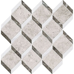 Silver Clouds, Snow White, Arctic Gray Multi Finish Steps 3d Marble Mosaics 37x38