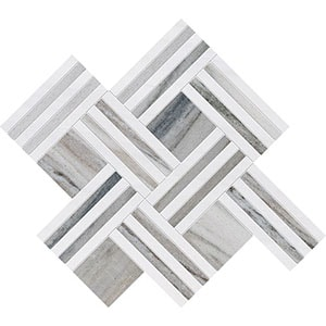 Skyline, Snow White Multi Finish Maze Basket Marble Mosaics 38x45