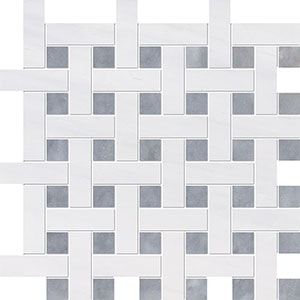 Snow White, Allure Multi Finish Basket Weave 1x3 Marble Mosaics 32x32