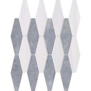 Snow White, Allure Multi Finish Rhomboid Blend Marble Mosaics 28x38