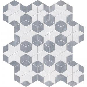 Snow White, Allure Multi Finish Stars Marble Mosaics 36x38