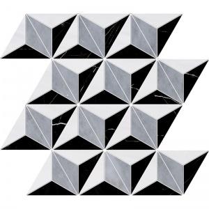 Snow White, Allure, Black Polished Diamond 3d Marble Mosaics 39x35