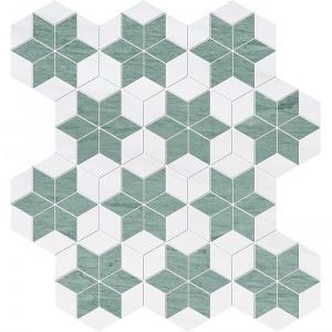 Verde Capri, Snow White Multi Finish Stars Marble Mosaics 36x38
