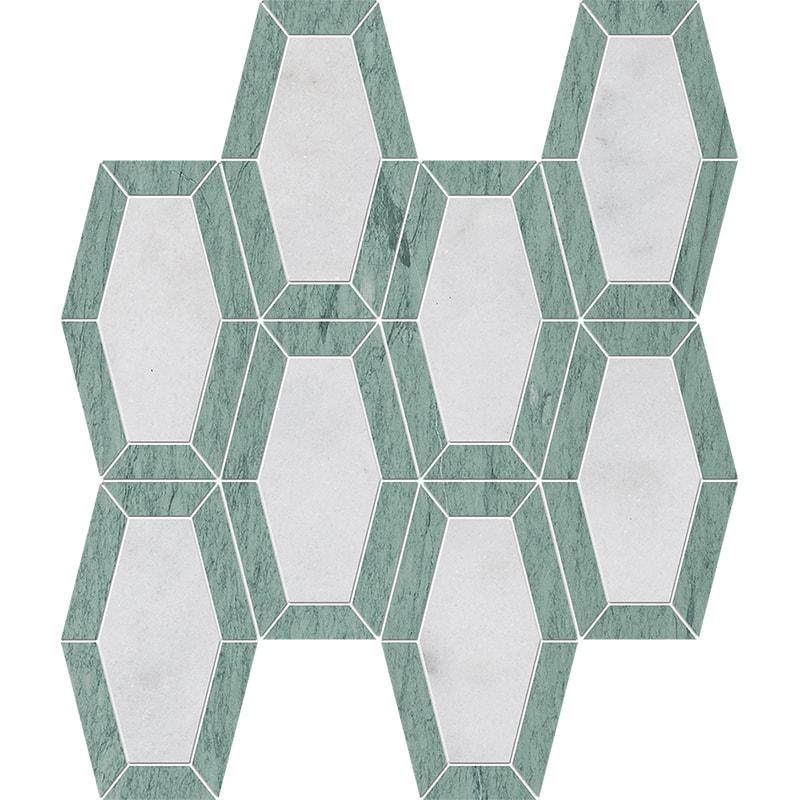 Verde Capri, Glacier Honed Lincoln Marble Mosaics 26x32,5