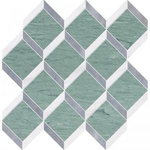 Verde Capri, Snow White, Allure Honed Steps 3d Marble Mosaics 37x38