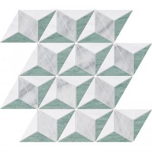 Verde Capri, Snow White, Avenza Honed Diamond 3d Marble Mosaics 39x35