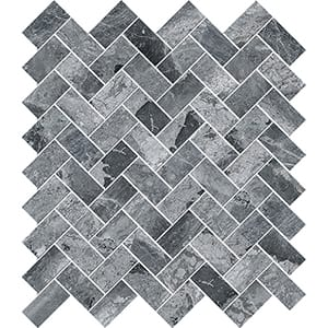 Haisa Black Polished Herringbone Marble Mosaics 30,5x33,5