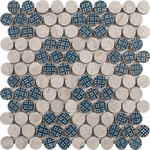 Ottoman Textile 2, Thala Gray Multi Finish Penny Round 3 Marble Mosaics 21,2x21,5