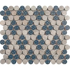 Ottoman Textile 2, Thala Gray Multi Finish Penny Round 4 Marble Mosaics 21,5x25,6