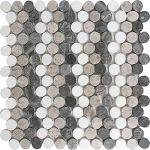 Snow White, Silver Shadow, Haisa Black Multi Finish Penny Round 5 Marble Mosaics 25,6x30