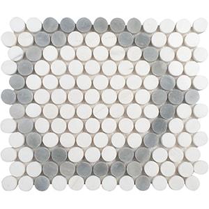 Snow White, Allure Light Multi Finish Penny Round 7 Marble Mosaics 21,5x25,6