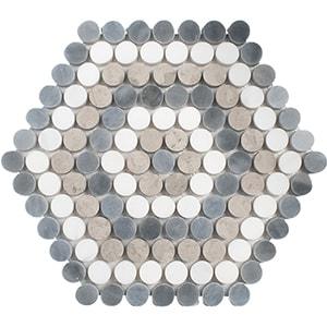 Snow White, Allure Light, Thala Gray Multi Finish Penny Round 8 Marble Mosaics 23,5x26,8