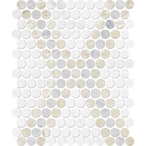 Diana Royal, Avenza, Snow White Multi Finish Penny Round Diamond 3 Marble Mosaics 27,3x32,5