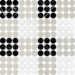 Black, Britannia, Snow White Multi Finish Penny Round Plaid 1 Marble Mosaics 26,2x26,2