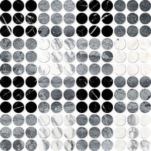 Black, Haisa Black, Calacatta Arabescato Multi Finish Penny Round Plaid 2 Marble Mosaics 26,2x26,2