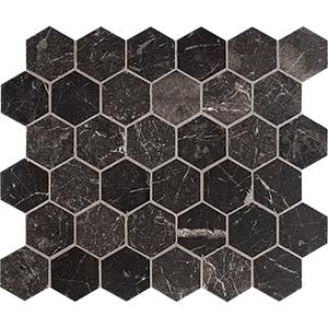 Iris Black Honed Hexagon Marble Mosaics 26,5x31