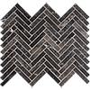 Iris Black Honed Herringbone Marble Mosaics 30,5x33,5