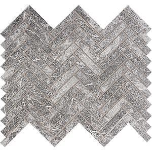 Iris Black Leather Herringbone Marble Mosaics 30,5x33,5