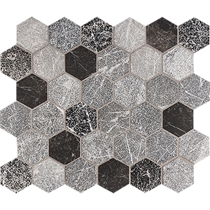 Iris Black Textura Hexagon Marble Mosaics 26,5x31