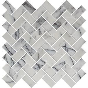 Lilac Honed Herringbone Marble Mosaics 30,5x33,5