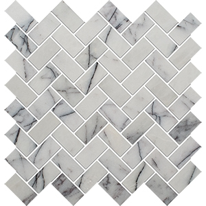 Lilac Polished Herringbone Marble Mosaics 30,5x33,5