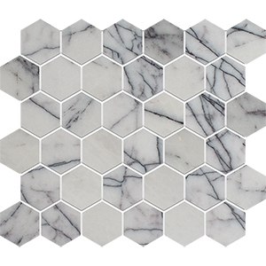 Lilac Polished Hexagon Marble Mosaics 26,5x31