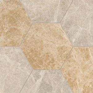 Paradise Multi Finish Hexagon Marble Waterjet Decos 14,5x12,5