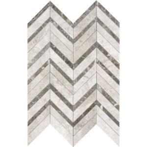 Silver Shadow Honed&polished Chevron Fusion Marble Mosaics 30,2x40,6