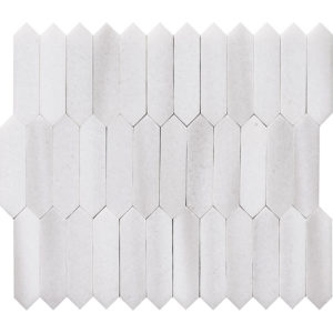 Frost White Polished Baby Picket Marble Waterjet Decos 33,5x28