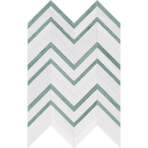 Verde Capri, Snow White Honed Chevron Fusion Marble Mosaics 30,2x40,6