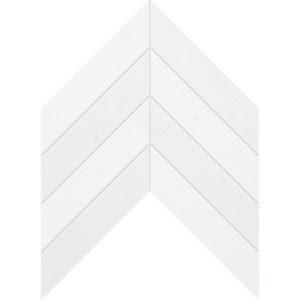 Aspen White Honed Chevron Marble Waterjet Decos 33x25,4