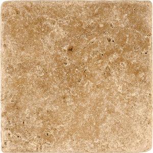 Walnut Dark Tumbled Travertine Tiles 15,2x15,2