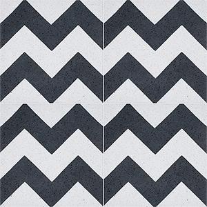Black, White Polished Allegro Cement Tiles 20x20