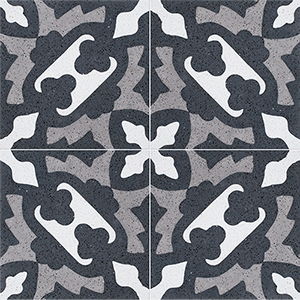 Black, White, Gray Polished Presto Cement Tiles 20x20