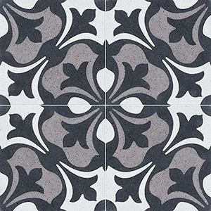 Black, White, Gray Polished Andante Cement Tiles 20x20